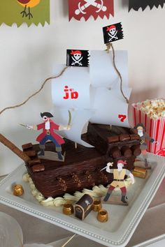 Pirate ship cake...using chocolate candies