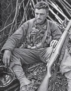 Wyman P. Williams of the US Infantry, Division, takes a break near Villedieu, France after fierce fighting through the bocage countryside. Kilroy Was Here, 4th Infantry Division, D Day Normandy, War Image, Military History, Military Art, United States Army, American Revolution, Vietnam War