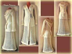 Long Hooded Coat Crochet Trench coat Cream Maxi Cardigan Duster Extra long Women Sweaters Crocheted Jacket Straps Bohemian Boho Hippie Coat