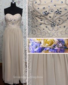 Embroidered beaded chiffon evening by Loveannaweddingdress on Etsy, $159.00
