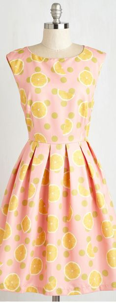 lemon print fit and flare dress