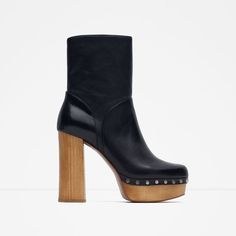 Image 1 of HIGH HEELED LEATHER ANKLE BOOTS WITH STUDS from Zara