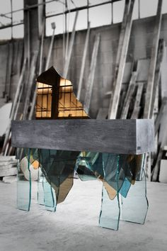Strong Table made from Concrete and Bits of Glass – Fubiz Media