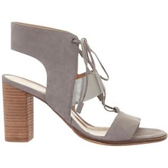 Mint Velvet Kara Lace Up Block Heeled Sandals, Grey (€150) ❤ liked on Polyvore featuring shoes, sandals, low heel sandals, strappy high heel sandals, high heel sandals, flat leather sandals and lace up block heel sandals