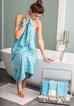 """Make a statement with these bold multiband bicolor canvas fouta beach towel. Eco friendly as it dries in second, this Turkish Towel style will never leave your side. Beautiful oversized, made of 100% natural cotton, this Fouta spa towel with a degrade of bicolor stripes, can be used as a beach blanket, a shawl, a throw on your sofa, a fun tablecloth and so much more! 38x78""""  http://www.scentsandfeel.com $65.50"""