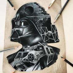 """When """"Star Wars"""" fan Adam Milton ( got a Darth Vader tattoo seven years ago, he was inspired to change careers. Tatoo Star, Star Wars Tattoo, Star Tattoos, Body Art Tattoos, Sleeve Tattoos, Celtic Tattoos, Darth Vader Tattoo, Star Wars Fan Art, Trendy Tattoos"""