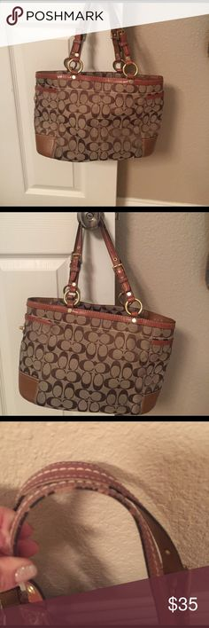 Authentic Coach purse. Preloved. Lots of life left. No rips or tears. Could use a little cleaning. Straps are worn a bit (Pictured). 14'x9' about. Coach Bags Shoulder Bags