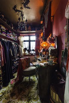 Very romantic bohemian. I love the idea of a dressing closet. Everything in one place. (I'm betting hubby would love that too)