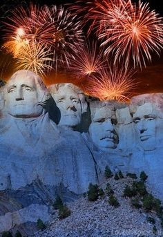 Mt. Rushmore during 4th of July  in South Dakota.