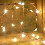 $9+ shipping - battery operated - *ON A TIMER (6 hrs on, 18 off) 20 LED Fairy Lights, 3.8 ft. Thin Copper Wire, Timer, Warm White