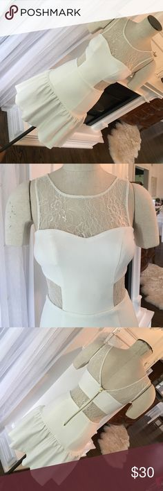 White lace dress Short white lace dress with lace cut outs. Worn once! Size small Dresses Mini