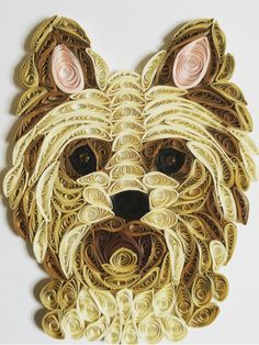 Yorkshire Terrier Card 3D Quilled Dog Terrier by Quillextra