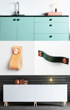 Superfront via decor8 (love the leather drawer pulls)