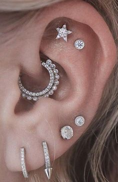 Cute Ear Piercing Ideas - Rook Piercing Jewelry, Cartilage Earrings, Helix Earrings at MyBodiArt.com