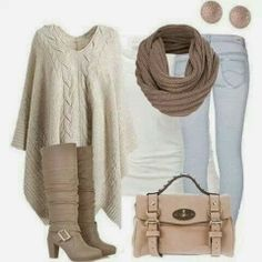 White long cardigan, scarf, jeans, white blouse, long shoes and handbag for fall