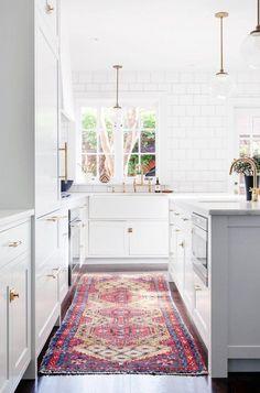 RUG RUNNER White kitchen: white subway tiles to ceiling with grey grout, marble benchtops… Kitchen Rug, New Kitchen, Kitchen Decor, Kitchen White, Kitchen Island, Kitchen Backsplash, Kitchen Ideas, Updated Kitchen, Kitchen Runner