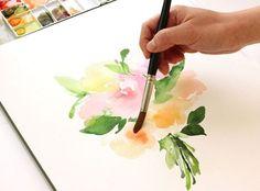 watercolor blending on flowers