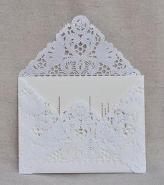 50 PIECE SET Lace Wedding Invitation Envelope Liner, Paper Doily Lace Invitation Liner, Embellishment, Invitation Envelope. $67.50, via Etsy.