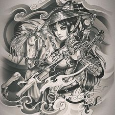 Wolf Tattoos, Girl Tattoos, Japanese Warrior Tattoo, Samurai Mask Tattoo, Foo Dog Tattoo, Female Samurai, Architecture Drawing Sketchbooks, Irezumi Tattoos, Tattoo Sketches