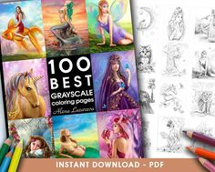 Printable Digital PDF-100 BEST GRAYSCALE coloring pages by Alena Lazareva Adult Coloring, Coloring book grayscale . iNSTANT dOWNLOAD
