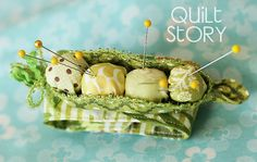 """Quilt Story Pea Pod wrist pin cushion...            Jelly Roll strips  5 x 4"""" scraps for pod  5 x 4"""" batting scrap  Ric rac  sparkle trim  button  velcro strips              Step 4: Download pea pod template in the Printer Friendly Version.      Step 5: Create your peas..."""