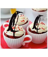 Ca347 Decorations cupcake toppers penguin vintage silhouette Package : 1... - $10.00