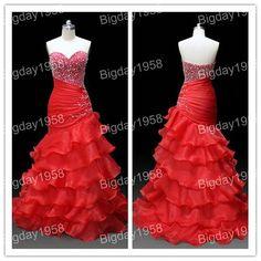 Custom Made Elegant Sweethear Organza Prom Dress,Mermaid Evening Dress,Pleating Party Dress on Etsy, $189.00