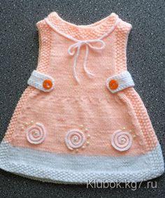 Crochet Toddler Dress, Knit Baby Dress, Knitted Baby Clothes, Baby Girl Crochet, Baby Cardigan Knitting Pattern, Baby Knitting Patterns, Baby Patterns, Baby Girl Dresses, Baby Outfits