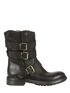 FRUIT - 20MM MULTI BUCKLED LEATHER LOW BOOTS