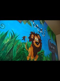 Jungle themed mural by caras creations for a child's nursery. Look at the other examples of my children murals! Contact me if interested. I use acrylic paint on walls to create murals