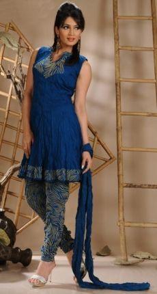 Preety Peacock Blue Churidar Kameez