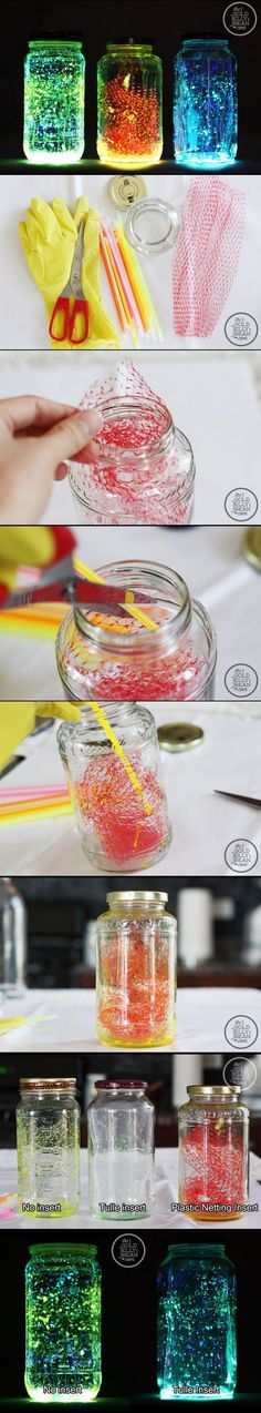 DIY: Glow Jars. The best tutorial I've see so far. Glow sticks, tulle and glass jars. Halloween Glow-in-the-Dark Spooktacular Halloween Party Decorations & Ideas (mason jar art glow sticks)