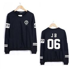 Kpop GOT7 All Members Sweater Jackson Unisex Pullover Sweatershirt... ($17) ❤ liked on Polyvore featuring tops, hoodies, pullover tops, sports hoodie, sweater pullover, pullover hoodie and hoodies pullover
