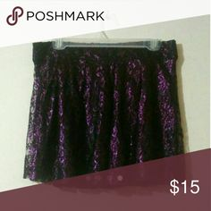 Sparkly Purple Forever 21 Lace Skirt Zips in the back. Can be worn high waisted. Forever 21 Skirts A-Line or Full