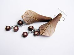 Brown earrings leaf textured earrings ombre brown by Feelingfimo