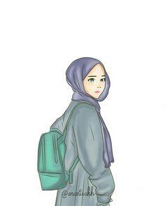 Hijab Cartoon, Cartoon Outfits, Girl Cartoon, Cartoon Art, Hijab Drawing, Bff Drawings, Islamic Cartoon, Anime Muslim, Barbie