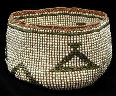 Rare beaded Modoc basket. The Modoc were Native American Indians who once lived in California and Oregon who were forced o...