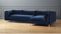 Decker 2-Piece Blue Velvet Sectional Sofa   CB2 Love this with a navy wall & all things water colors