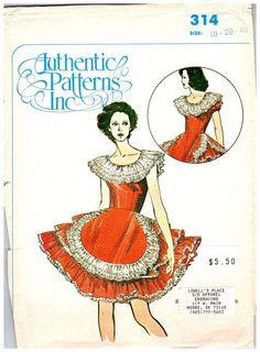 Vintage Pattern Square Dance Dress Rockabilly Authentic 314 Size 18 20 Uncut