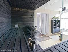 Glass-walled sauna in greyish Modern Saunas, Sauna Room, Home Spa, Workout Rooms, Extra Seating, Building A House, Sauna Ideas, Home Goods, Living Spaces