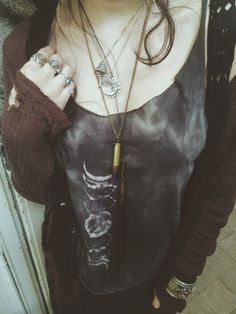 Black Jeans, Acid-Wash Grey Shirt, Distresses Burgundy Cardigan, Gold Cuff Bracelet, Edgy Layered Necklaces... Bohemian Punk
