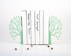 Bookends - FREE SHIPPING Spring Mint edition - laser cut for precision these metal bookends for nursery