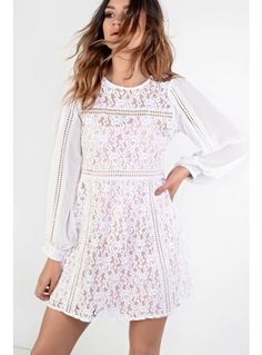 Glamorous white lace dress