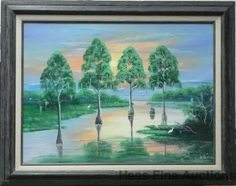 Lg Orig Al Black Florida Highwaymen Cypress Swamp African American Painting 3of3 #Impressionism
