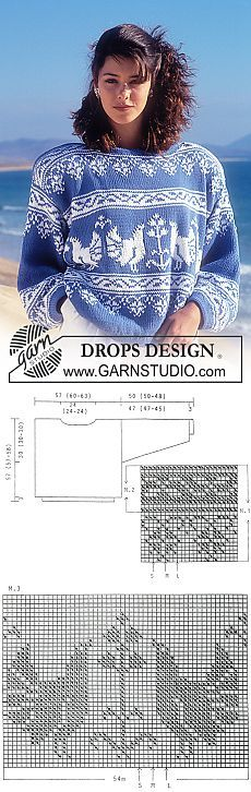 "DROPS jumper with pattern borders in ""Muskat"". ~ DROPS Design"