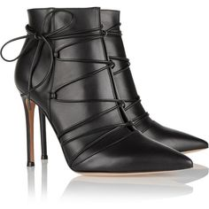 Gianvito Rossi - Lace-up leather ankle boots Stilettos, High Heels, Shoes Heels, Leather Ankle Boots, Ankle Booties, Bootie Boots, Black Leather, Black Booties, Cute Shoes
