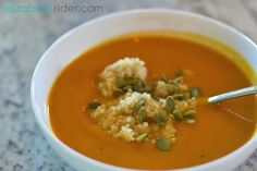 Healing Butternut Squash & Carrot Curry Soup Recipe by Elizabeth Rider. Get more free recipes at www.elizabethrider.com #recipes #food #butternutsquash #soup