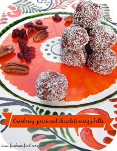 How's this for a special treat for Thanksgiving? Chocolate, pecan and cranberry energy balls, perfect for Thanksgiving.