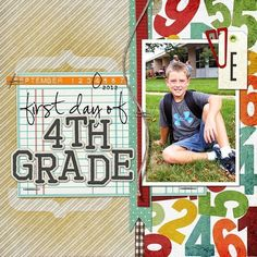 First Day of School digital scrapbook layout idea. Description from pinterest.com. I searched for this on bing.com/images #memoriesscrapbook #scrapbooking101