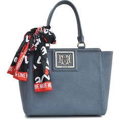 Love Moschino I Love Scarf Tote ($295) ❤ liked on Polyvore featuring bags, handbags, tote bags, grey, studded purse, pocket tote, shopping bag, studded tote and zipper purse